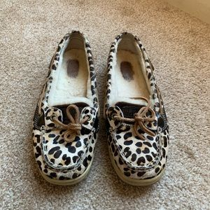 Sperry Leopard Print Lined Loafers
